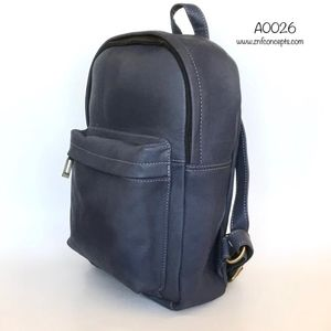 Blue Leather Backpack, Royal Blue